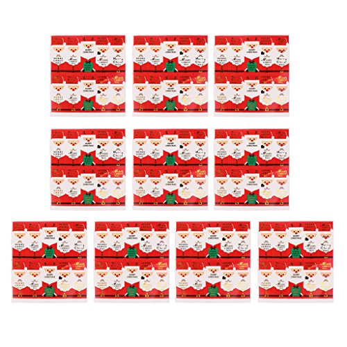 Dovewill 10 Sheets/200pcs Decorative Merry Christmas Envelope Food Packing Bag Seals Red Santa Candy Bag Box Gift Adhesive Stickers ()