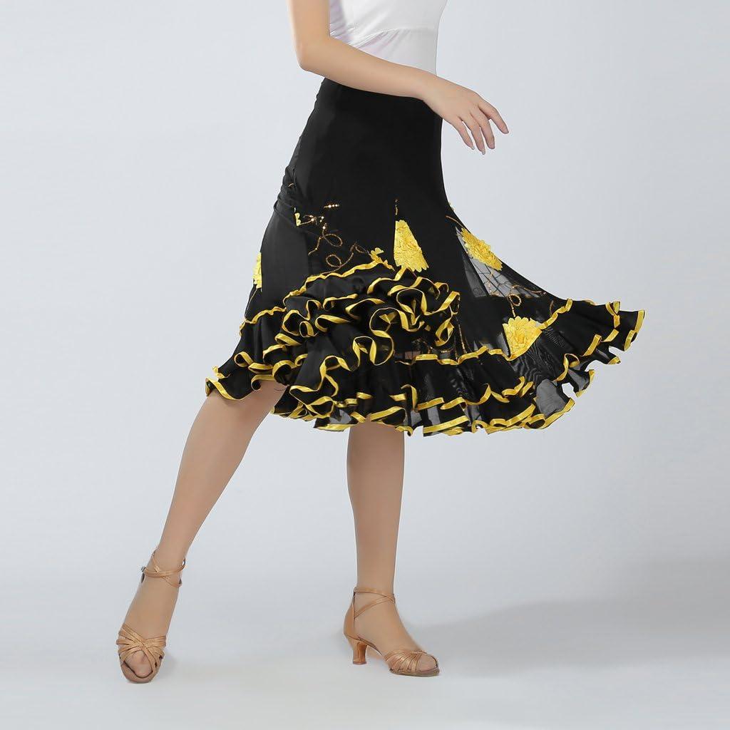 Baoblaze Falda de Vals Vestido de Flamenca Ropa de Baile Vestido de Lentejuelas Accesoiros