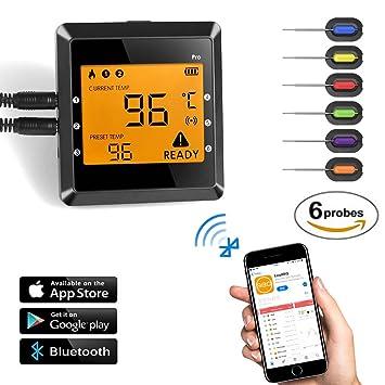Termómetro inalámbrico para carne, OUTAD Digital APP Termómetro para cocinar con control remoto Lectura instantánea