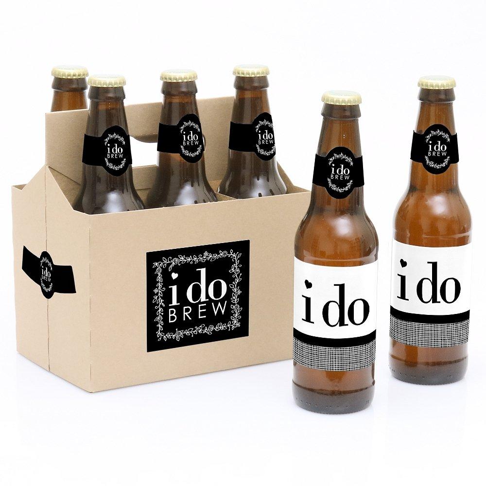 I Do - 6 Wedding Beer Bottle Labels and 1 Carrier Big Dot of Happiness LLC BD9074btl