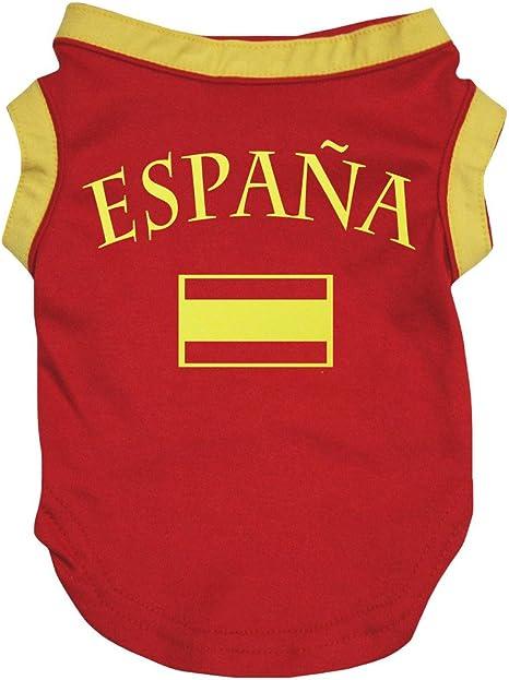Petitebelle Camisa de perro rojo con bandera de España (mediano, rojo)