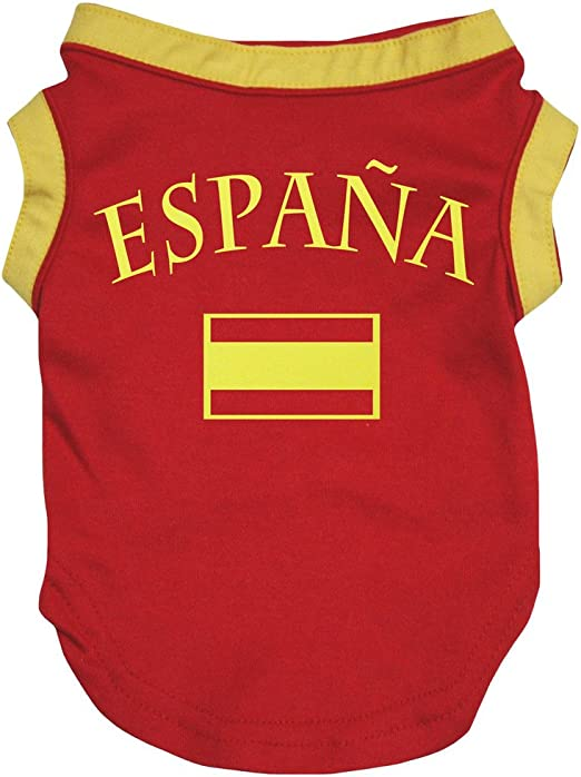 Petitebelle Ropa para Perro, diseño de la Bandera de España, Color ...