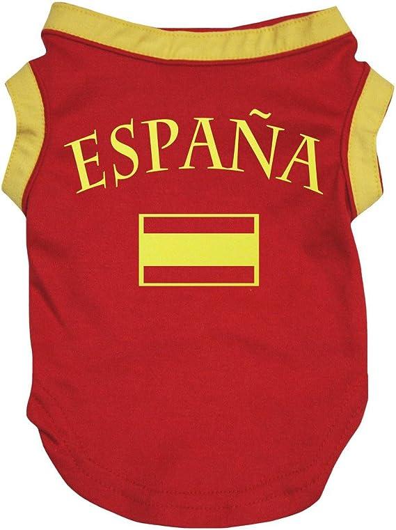 Petitebelle Ropa para perro, diseño de la bandera de España, color rojo: Amazon.es: Productos para mascotas