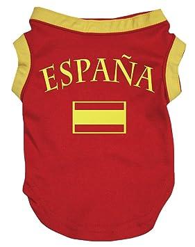 Petitebelle Ropa para perro, diseño de la bandera de España, color rojo