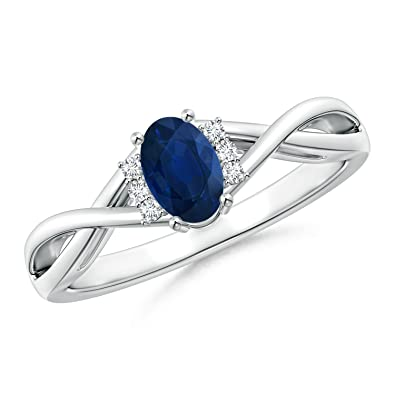Angara Blue Sapphire Crossover Ring in Platinum gSpC40