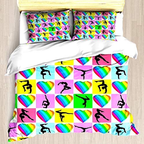 Beautiful Colored Multi (NTCBED Beautiful Multi Colored Gymnast Love Design - Duvet Cover Set Soft Comforter Cover Pillowcase Bed Set Unique Printed Floral Pattern Design Duvet Covers Blanket Cover Twin/XL Size)