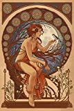Woman and Bird - Art Nouveau (9x12 Collectible Art Print, Wall Decor Travel Poster)