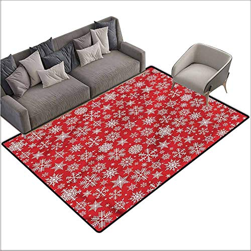 Large Floor Mats for Living Room Colorful Red,Various Snowflakes Winter 48