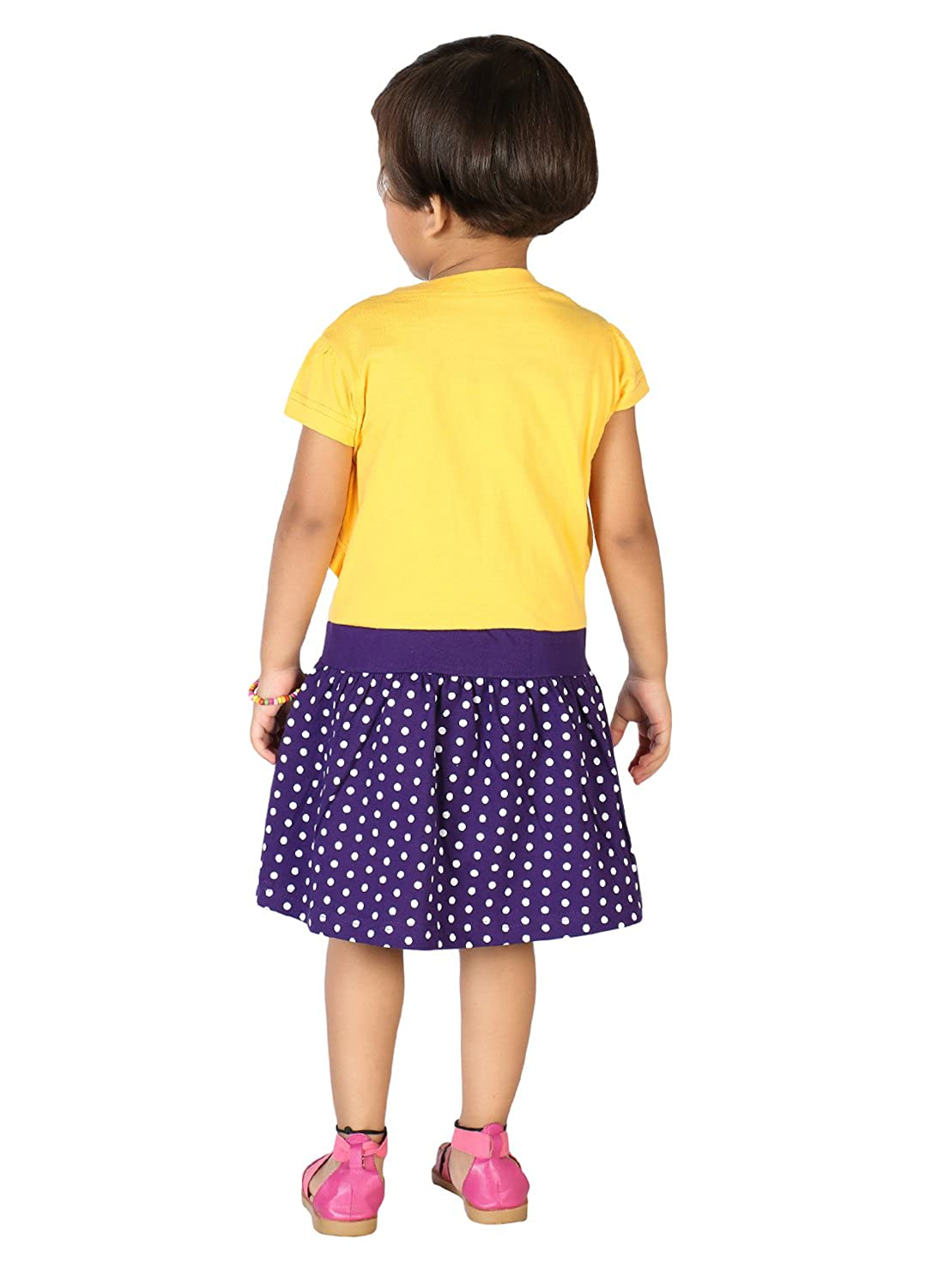 0833bfcb0f Lil Orchids Floral Printed Girls Casual Dress (LO-028-YELLOW): Amazon.in:  Clothing & Accessories