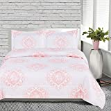 OSD 3pc Girls Pink White Medallion Elephant Comforter Queen Set, Pretty Girly Damask Scrollwork Animal Bedding, Light Baby Pale, Stylish Boho Chic Indian Floral Scroll Motif Themed Pattern
