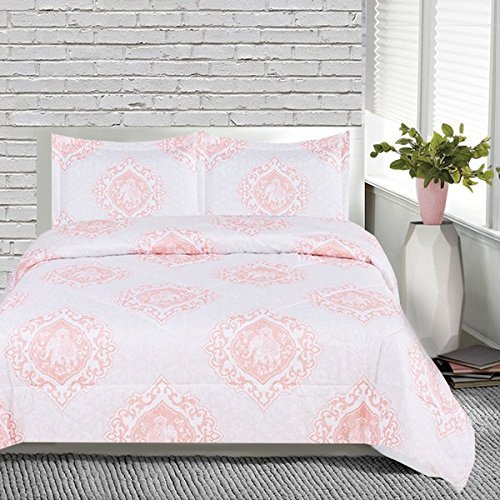 OSD 3pc Girls Pink White Medallion Elephant Comforter Queen Set, Pretty Girly Damask Scrollwork Animal Bedding, Light Baby Pale, Stylish Boho Chic Indian Floral Scroll Motif Themed Pattern by OSD