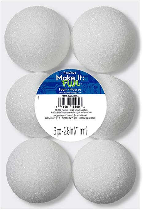 FloraCraft Packaged Styrofoam Ball 5-Inch Snowball White Light and Durable