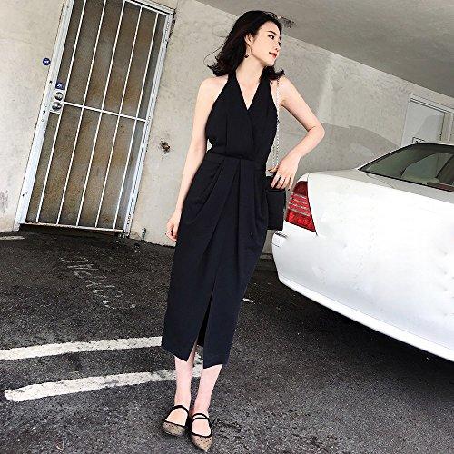 Temperamento Mangas Señoras Vestido Shoulder metro Largo Hendidura Párrafo negro Viento Stts Cintura Sin a164q