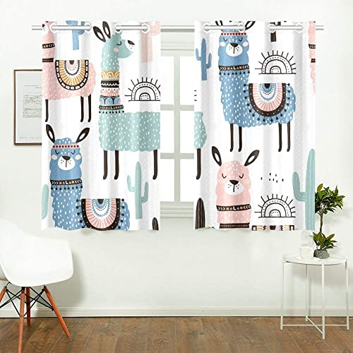 YUMOING Llama Cactus Hand Drawn Kitchen Curtains Window Curtain Tiers for Caf , Bath, Laundry, Living Room Bedroom 26 X 39 Inch 2 Pieces