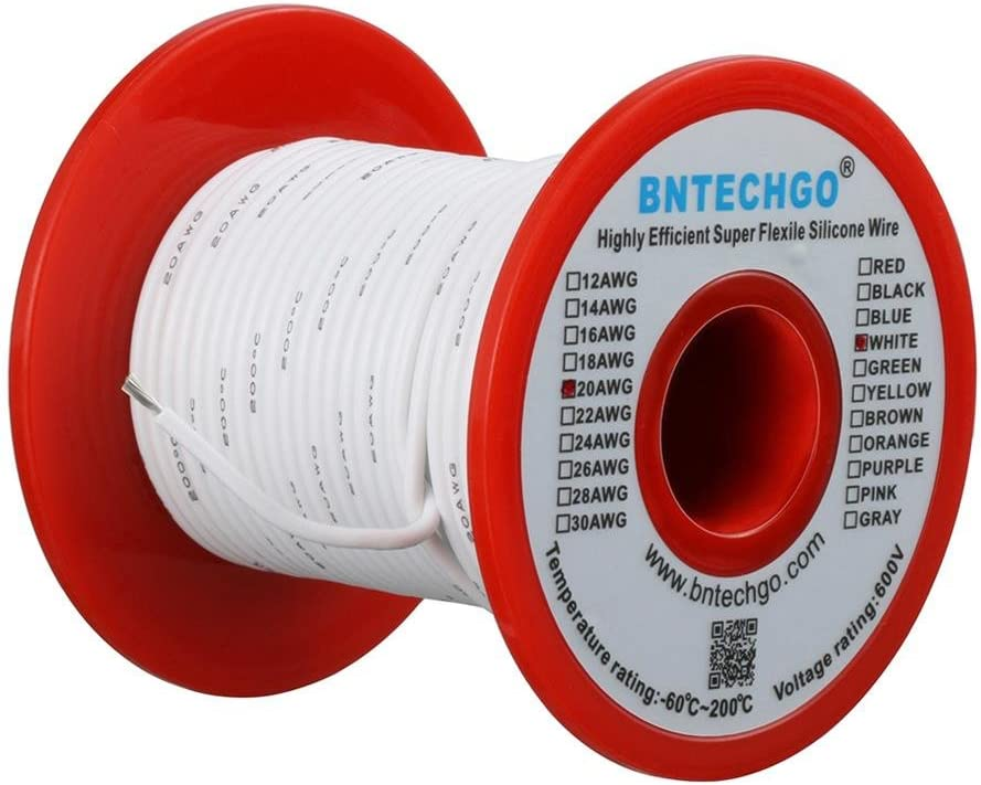 BNTECHGO 20 Gauge Silicone wire spool 100 ft White Flexible 20 AWG Stranded Tinned Copper Wire