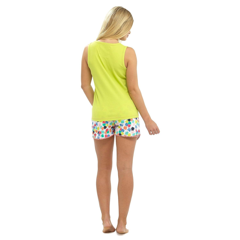 5d106bf6bc Ladies Tropical Cotton Summer Pyjamas Lime Vest Top   Multi Shorts Set UK 16 -18  Amazon.co.uk  Clothing