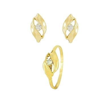 a3645ea8b6d4 Conjunto Pendientes y Anillo de Oro 18K Circonitas para Comunión niña   Amazon.es  Joyería