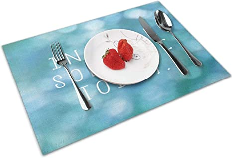 Amazon Com Kiuloam Inspirational Quotes With Bubbles Placemats Heat Insulation Stain Resistant Placemats For Dining Table Table Mats Protector For Kitchen Dining Room 12 X 18 Set Of 4 Home Kitchen