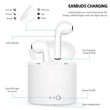 Amazon.com: Bluetooth Headset, i7 Wireless Headset with Charging Box Mini in-Ear Headphones with Microphone, Compatible with iPhone X 8 8plus 7 7plus 6S ...