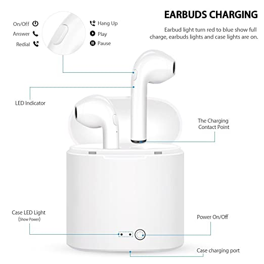 ... Sweatproof Headphones with Noise Canceling and Charging Kit for iPhone X 8 8plus 7 7plus 6S Samsung IOS Android Smartphone: Cell Phones & Accessories