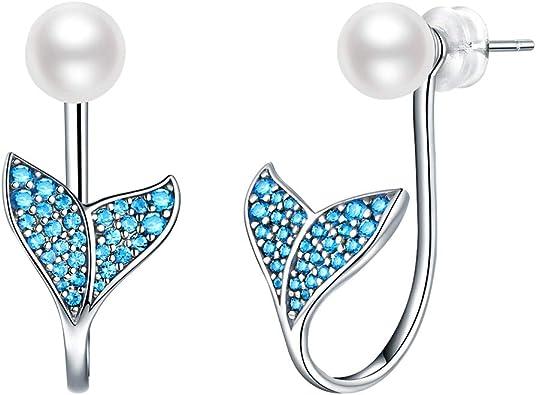 Blue Statement Dangle Earrings Mermaid Tail Earrings