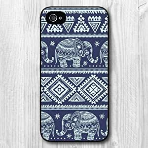 New Fashion Design Tribal Elephant Blue Pattern Protective Hard Phone Cover Skin Case For iPhone 4 4s +Screen Protector