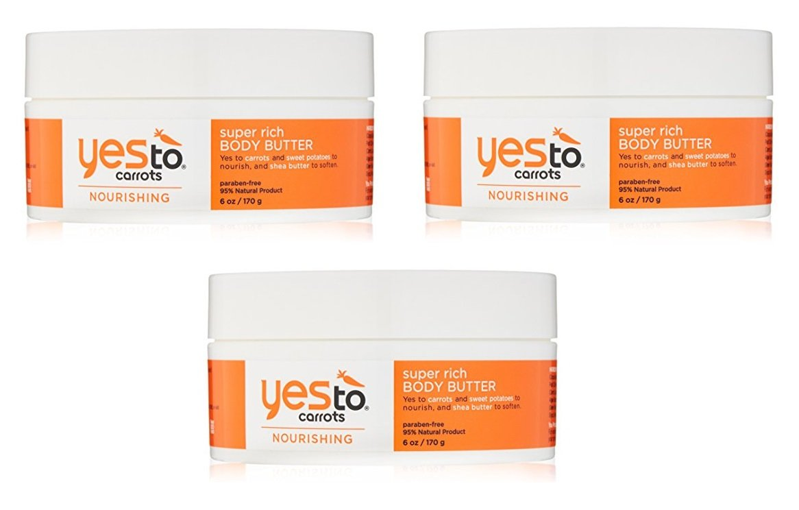 Amazon.com : Yes To Carrots Nourishing Super Rich Body Butter 6 oz (Pack of 3) + Makeup Blender : Beauty