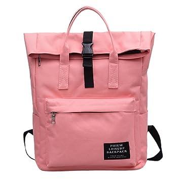 DOGZI Moda Mujer Color sólido Nylon Bolsa de Hombro Bolsa para la Escuela Satchel Tote Mochila Mochilas Mujer Casual Mochilas Escolares niñas Adolescentes ...