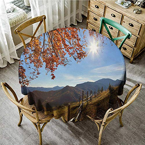 DONEECKL Restaurant Tablecloth Fall Fallen Leaves Over The Mountains Idyllic Fall Day Morning Sunrise Oak Tree Branches Party D51 Multicolor