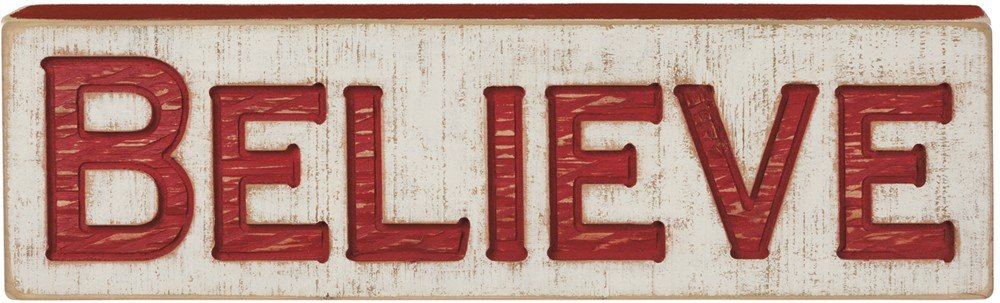 Primitives by Kathy Distressed Red and White Carved Sign, Believe