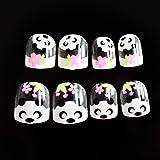 EchiQ - Juego de 24 uñas postizas de bambú para niños, color blanco claro,
