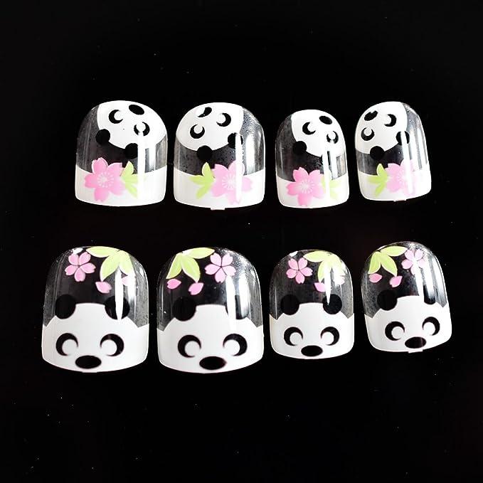 EchiQ - Juego de 24 uñas postizas de bambú para niños, color blanco claro, diseño de flores rosas