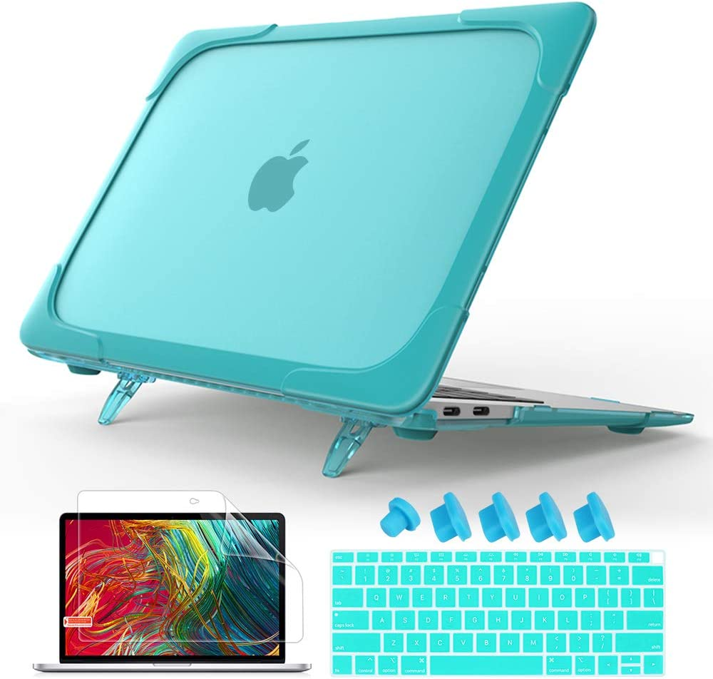 """Mektron for MacBook Air 13 inch Case 2020 2019 2018 Release A1932 A2179,Hard Plastic Bumper & TPU Protective Case with Kickstand Shockproof Translucent Matt Cover for Mac Air 13"""" (Blue)"""