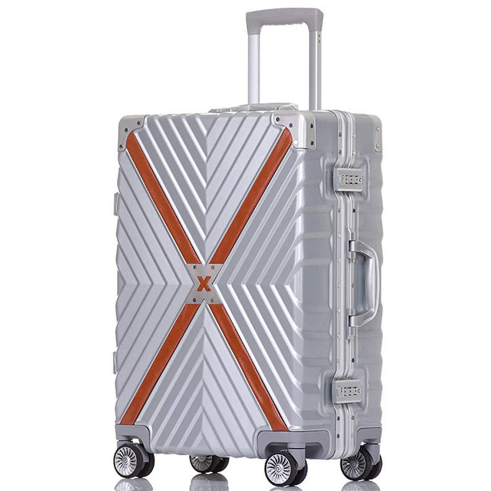 DS-トロリー トロリーケース - ABS/PC、TSAコンビネーションロック、大容量、レトロアルミフレームアンチコリジョンユニバーサルホイール学生搭乗シャーシ - 3色3サイズオプション && (色 : シルバー しるば゜, サイズ さいず : 35*24*50cm) 35*24*50cm シルバー しるば゜ B07MMJFH11