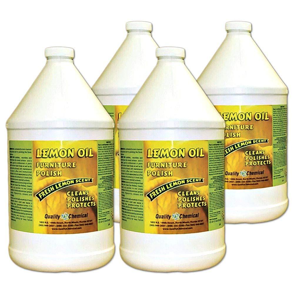 Lemon Oil Furniture Polish (finest blend of lemon oils, waxes & moisturizers & UV protectants)-4 gallon case by Quality Chemical (Image #1)