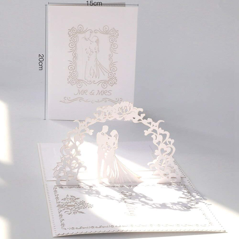 Tarjetas 3D desplegables con diseño de corazón y luna, cortadas ...