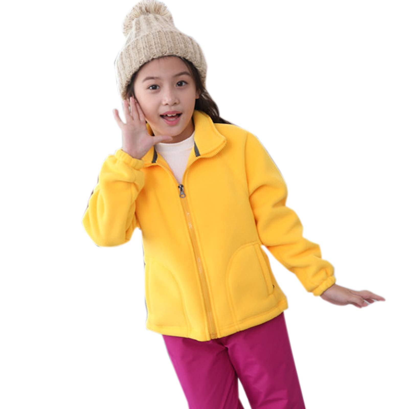 Elonglin Kids Fleece Jacket Full Zip Stand Collar Girls Sportwear Top Outwear Yellow4 Bust 33.4''(Asie XXS) by Elonglin