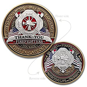 Fire Fighter Appreciation Challenge Coin · FireFighter Thank You Challenge Coin from Armor Coin