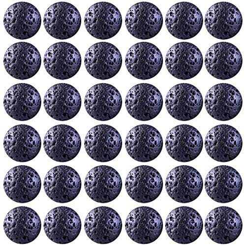 Natural Stone Beads 100pcs 10mm Black Lava Stone Round Genuine Stone Beading Loose Gemstone Hole Size 1mm DIY Smooth Beads for Bracelet Necklace Earrings Jewelry Making (Black Lava Stone Beads, 10mm)