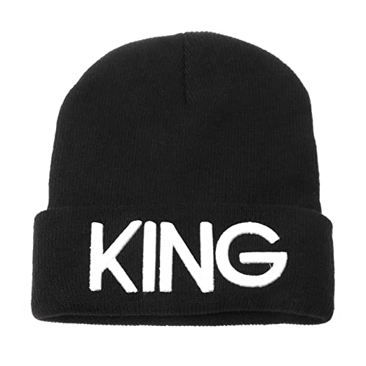 76b90c653 OHTOP Couple King And Queen Winter Embroidered Print Warm Knit Cap ...