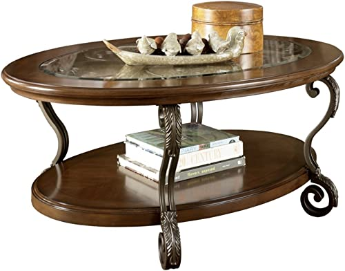 Signature Design by Ashley – Nestor Glass Top Oval Coffee Table, Medium Brown
