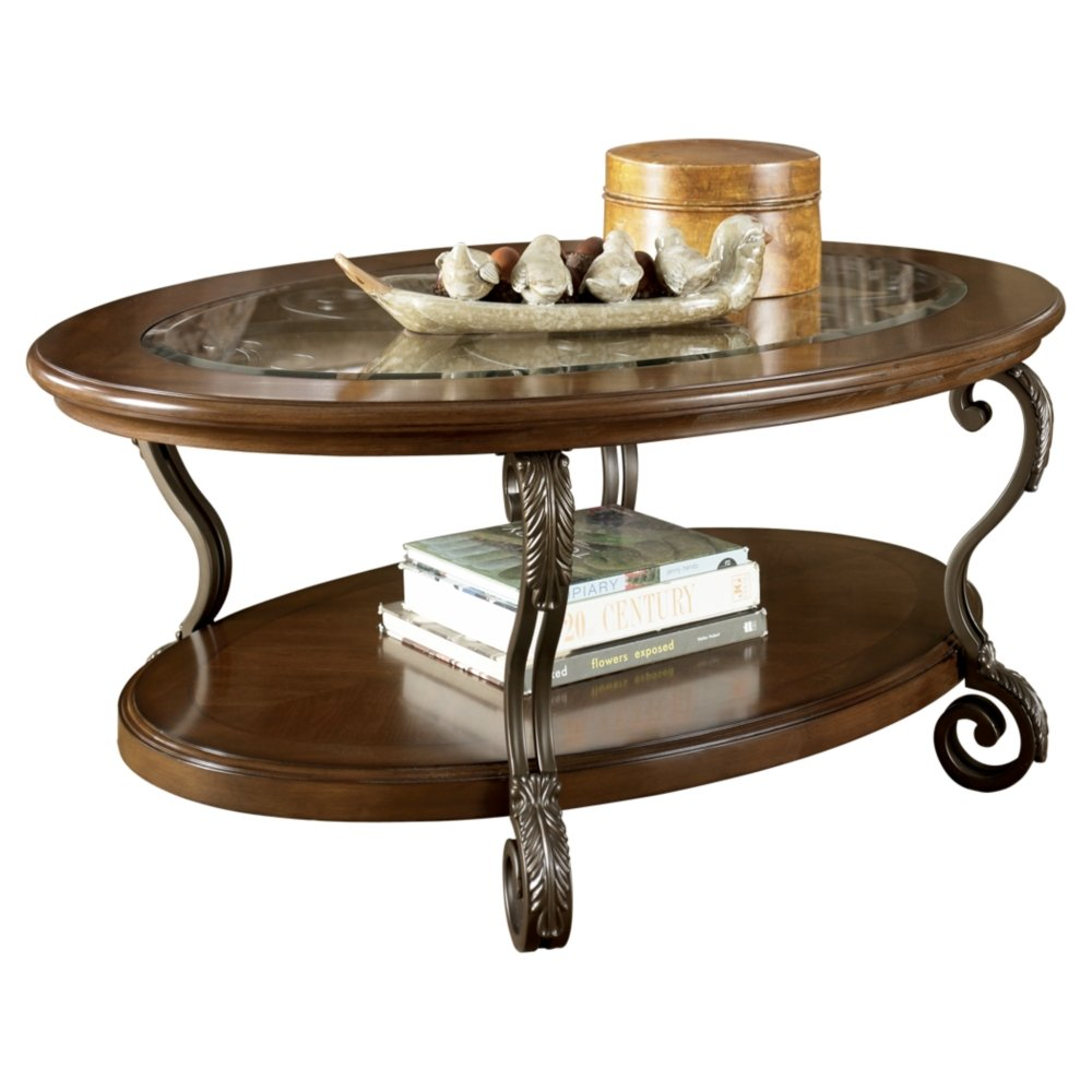 Ashley Furniture Signature Design - Nestor Glass Top Coffee Table - Cocktail Height - Oval - Medium Brown by Signature Design by Ashley