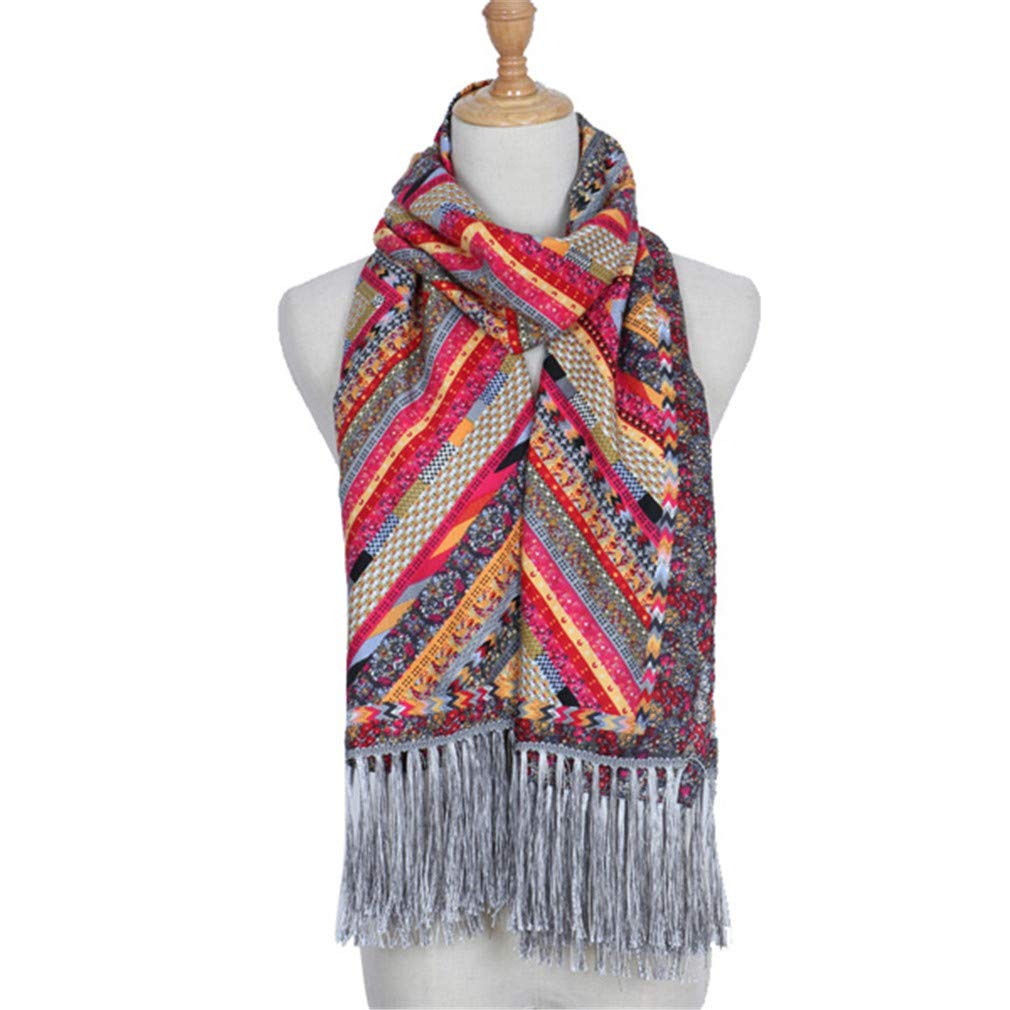 Fashion Winter Cotton Long Scarf Women Ethnic Bohemia Printed Retro Shawl Tassel Scarves 20070Cm