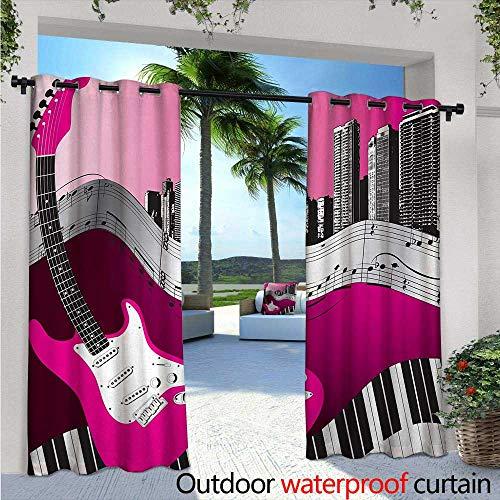 Music Indoor/Outdoor Single Panel Print Window Curtain W84 x L96 Bass Guitar Keyboard Urban Rock Backdrop Rhythm of City Illustration Silver Grommet Top Drape Hot Pink Light Grey Black