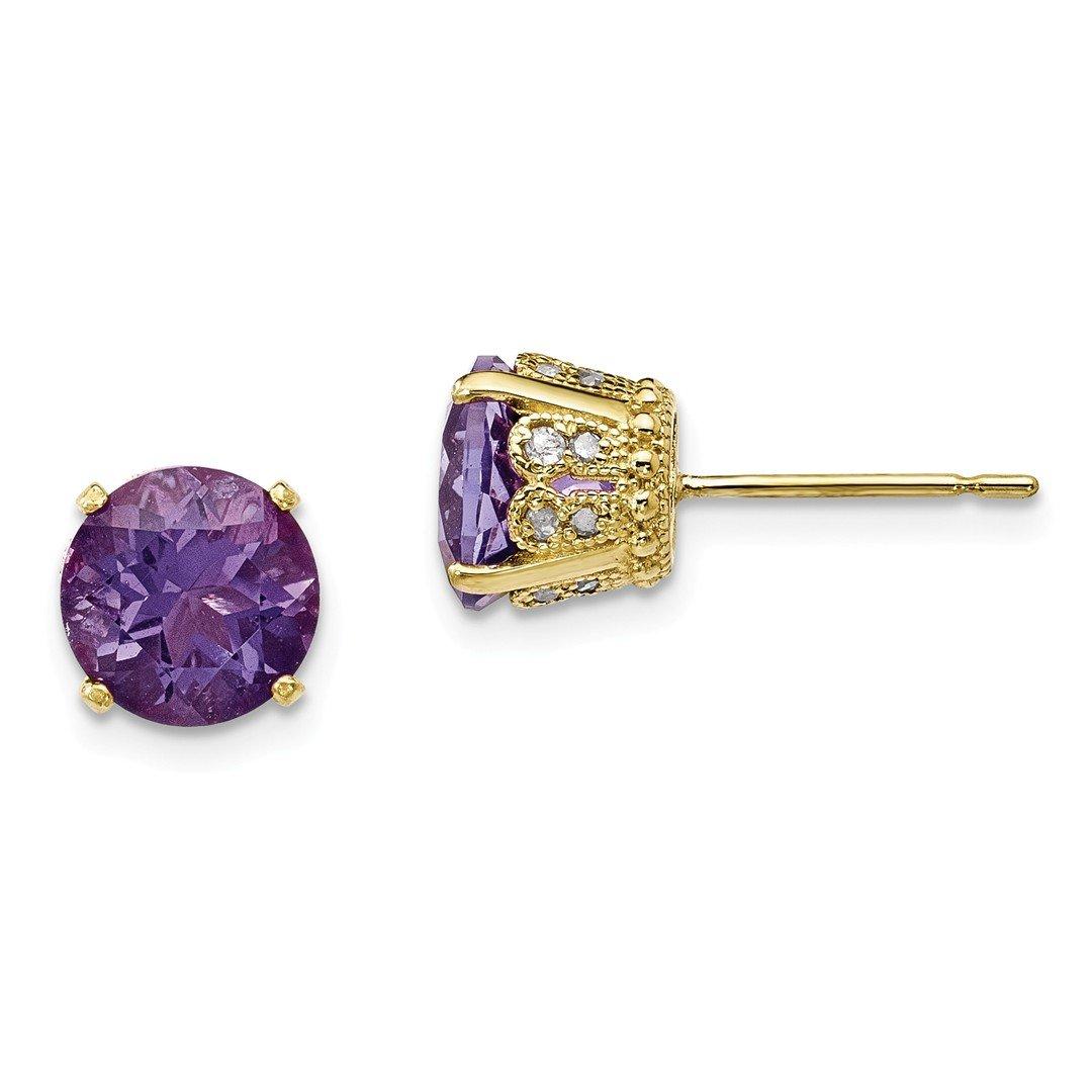 ICE CARATS 10k Yellow Gold Tiara Collection Diamond Purple Amethyst Post Stud Ball Button Earrings Set Birthstone February Yc Fine Jewelry Gift Set For Women Heart