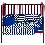 BabyDoll Chevron Dot Port-A-Crib Bedding Set, Navy