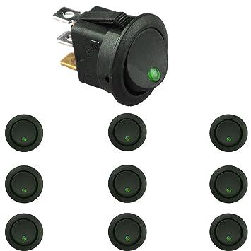 Schalter ein//aus grün 12V 16A Wippschalter