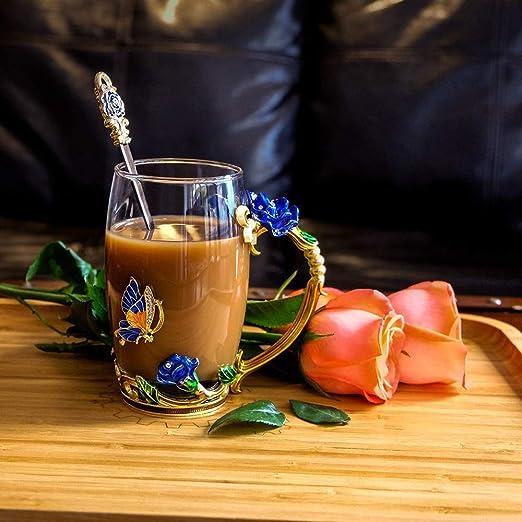 DasyFly Tazza da caff/è per donna con farfalla blu e fiore rosa