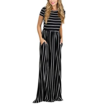 Womens Dresses Stripes Short Sleeve Round Neck Casual Long Dress 2018 New Spring And Autumn Canonicals