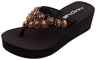 AIMONE Womens Printemps Rhinestone Mid Heel Flip Flop Thongs(40 EU ... 213736927432